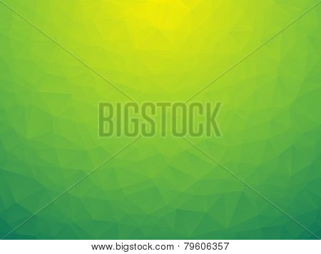 abstract triangular yellow green bio background low poly poster