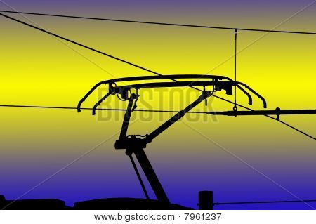 Contact Wires Modern Electrified Railway, Isolated On Colorful Background