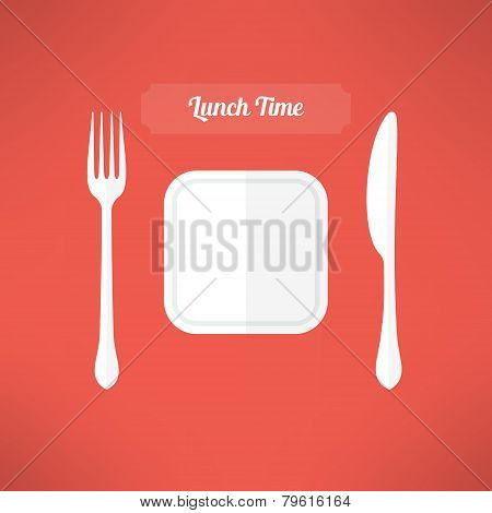 Plate, fork and knife made in moder flat design. Lunch time concept. Vector illustration