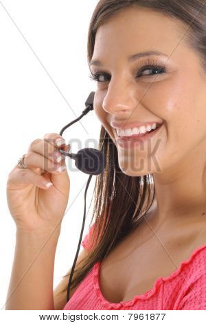 happy woman with headset