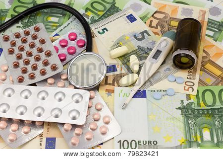 Medical Pills,stethoscope And Thermometer In Euro Money Background As A Symbol Of Health Care Costs
