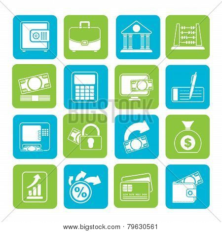 Silhouette Bank, business and finance icons - vector icon set poster