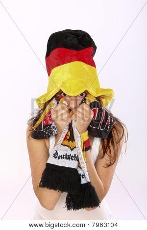 Excited German Soccer Fan Girl