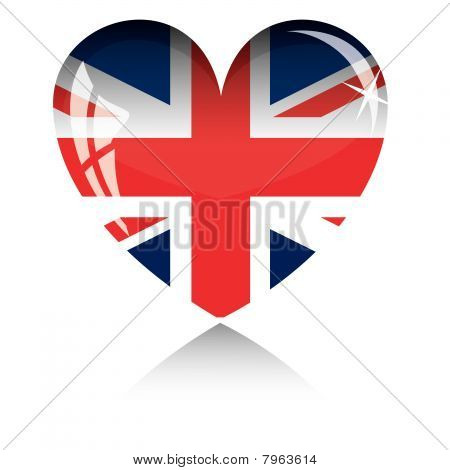 Vector heart with Britan flag texture