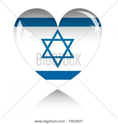 Vector heart with Israel flag texture isolated on a white.