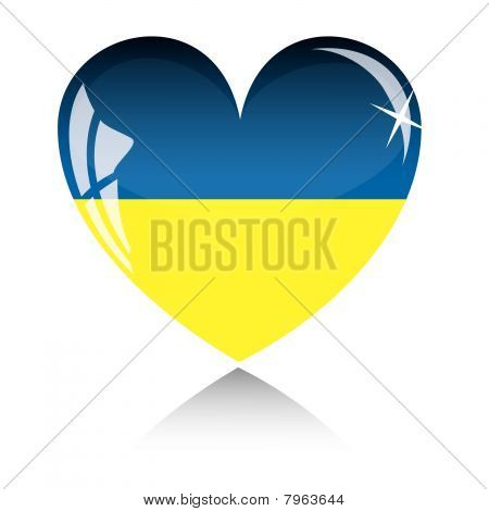 Vector heart with Ukraine flag texture isolated on a white.
