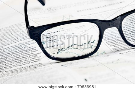 Financial Chart And Graph Currencies See Through Glasses Lens On Financial Newspaper