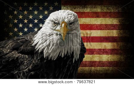 American Bald Eagle On Grunge Flag