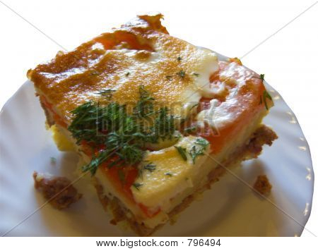 The baked pudding consist of flour, potato, pork, eggs and tomatoes poster