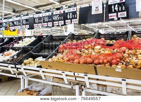 Fresh Vegetables Ready For Sale In Auchan Samara Store
