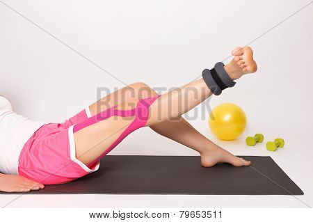Physiotherapy Exercise With Kinesio Tape and ankle weight poster