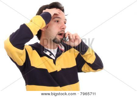 Shouting Man Talking On A Mobile Phone