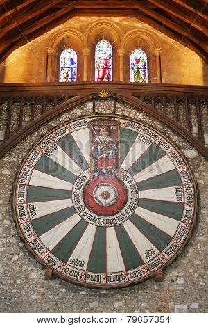King Arthur's Round Table On Temple Wall In Winchester England UK