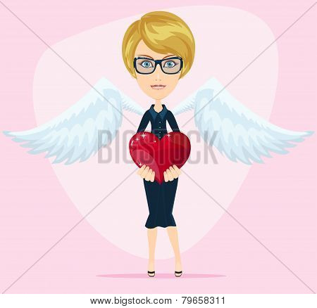 Female angel with beautiful wings gives heart for you