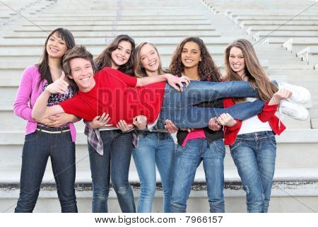 group of diverse students at school