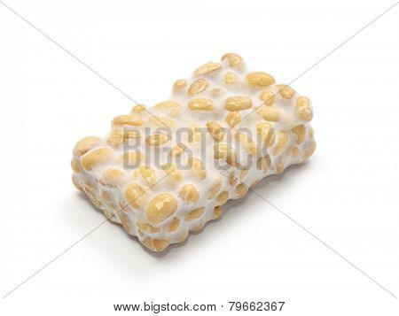 fresh tempeh isolated on white background, indonesian food, vegetarian food, soybean product