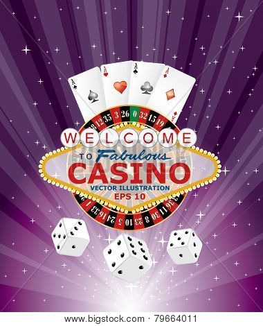 purple burst with casino gambling icons