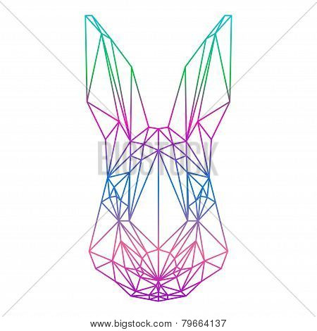 Polygonal Abstract Rabbit Silhouette Drawn In One Continuous Line