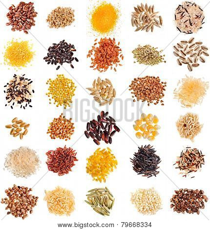 Collection Set of Cereal Grains and Seeds Heaps: Rye, Wheat, Barley, Oat, Corn, Flax, Millet, Rice, Buckwheat, Quinoa closeup isolated on white background poster