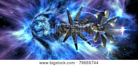 Interstellar spaceship entering a wormhole