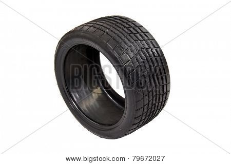Tubeless radial race tire isolated on white background