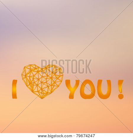 elegant background with polygonal heart, for greeting, invitation card, or cover.
