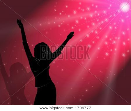 The girl dances in magic light