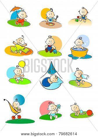 Set of small babies enjoying various activities