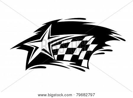 Racing icon with flag and star