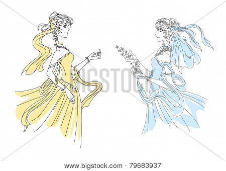 Two delicate elegant vintage ladies in swirling attire wearing filmy headgear and long gowns, vector illustration on white poster