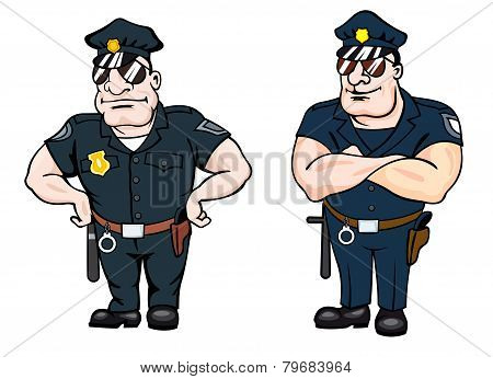 Two large beefy determined police officers