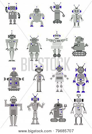 Large black and white set of toy robots or aliens