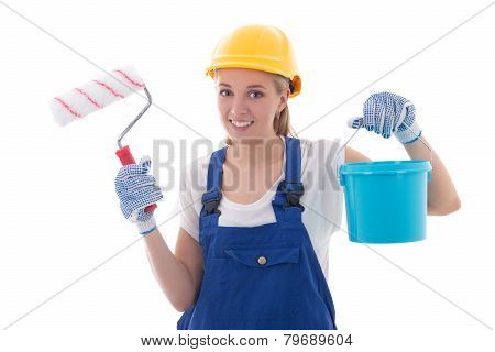 young woman painter in blue builder uniform with paint brush and bucket isolated on white background poster