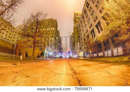 Tulsa City Skyline Around Downtown Streets