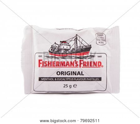 DEPEW, OK, USA - January 8th, 2015: Photo of a bag of Fisherman's Friend Original, strong menthol lozenges produced by the Lofthouse company in Fleetwood, Lancashire, England.