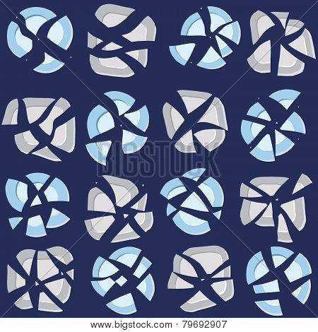 Seamless pattern with broken plates, abstract background.