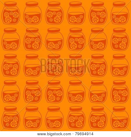 Funny seamless pattern with a colorful citrus jam jars. Plain shadeless background with oranges for decoration. poster