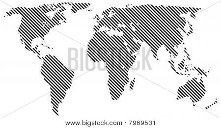 Back striped map of the world