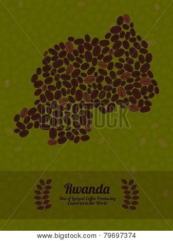 Rwanda map made of roasted coffee beans. Vector illustration.