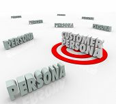 Customer Persona 3d words on a bulls-eye or target to illustrate marketing to a buyer description, story, wants or needs based on personal education, habits or behavior poster