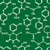 Organic chemistry structural formula seamless background pattern in white on green conceptual of research and education in square format poster
