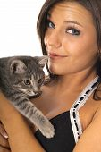shot of a woman with a cute little kitty poster