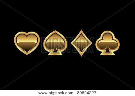 Vector playing card suit icons in gold, vector illustration