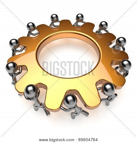 Teamwork unity partnership business process 11 workers turning gear together characters make hard job. Team cooperation efficiency workforce activism concept. 3d render isolated on white poster