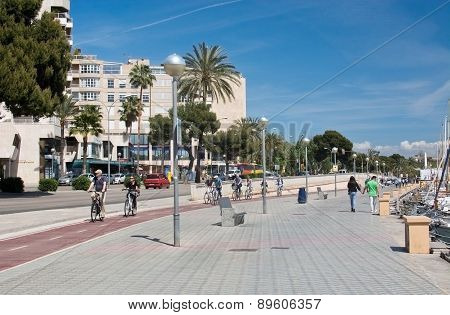 View near the harbor with bicyclists and walkers