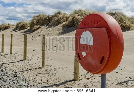 Lifebuoy holder on the beach