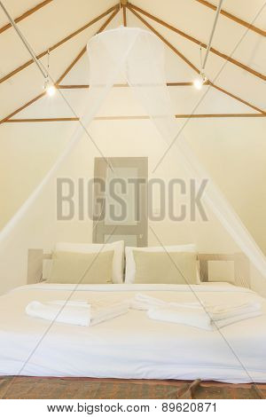 King size bed and net curtains for bedrooms