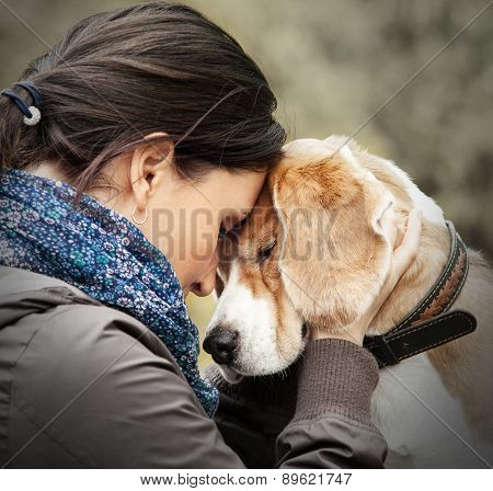 Woman with her dog tender scene . poster