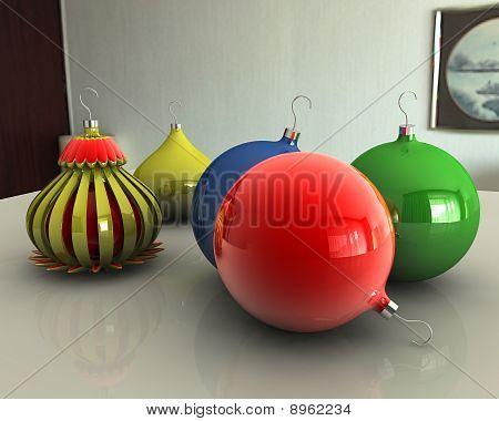 Christmas Balls On Table