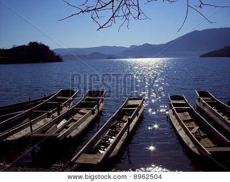 boats of setting sun